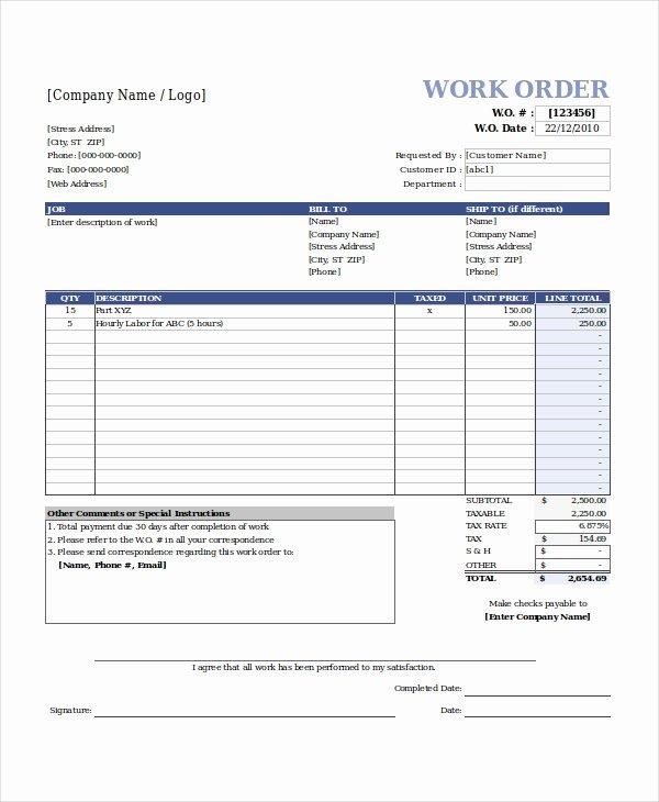 Work orders Template Free Luxury Excel Work order Template 13 Free Excel Document