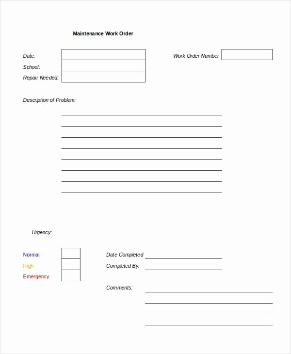 Work orders Template Free New Excel Work order Template 13 Free Excel Document
