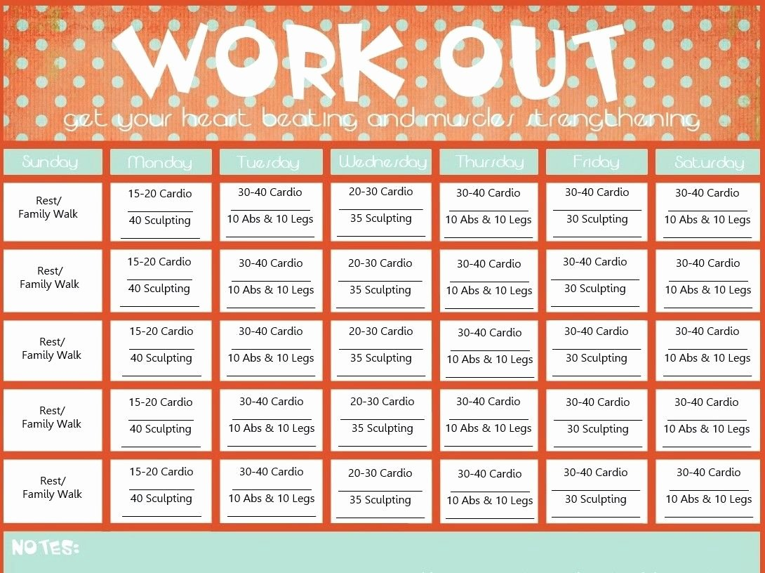 Work Out Schedule Template Beautiful Blank Printable Workout Calendar Template