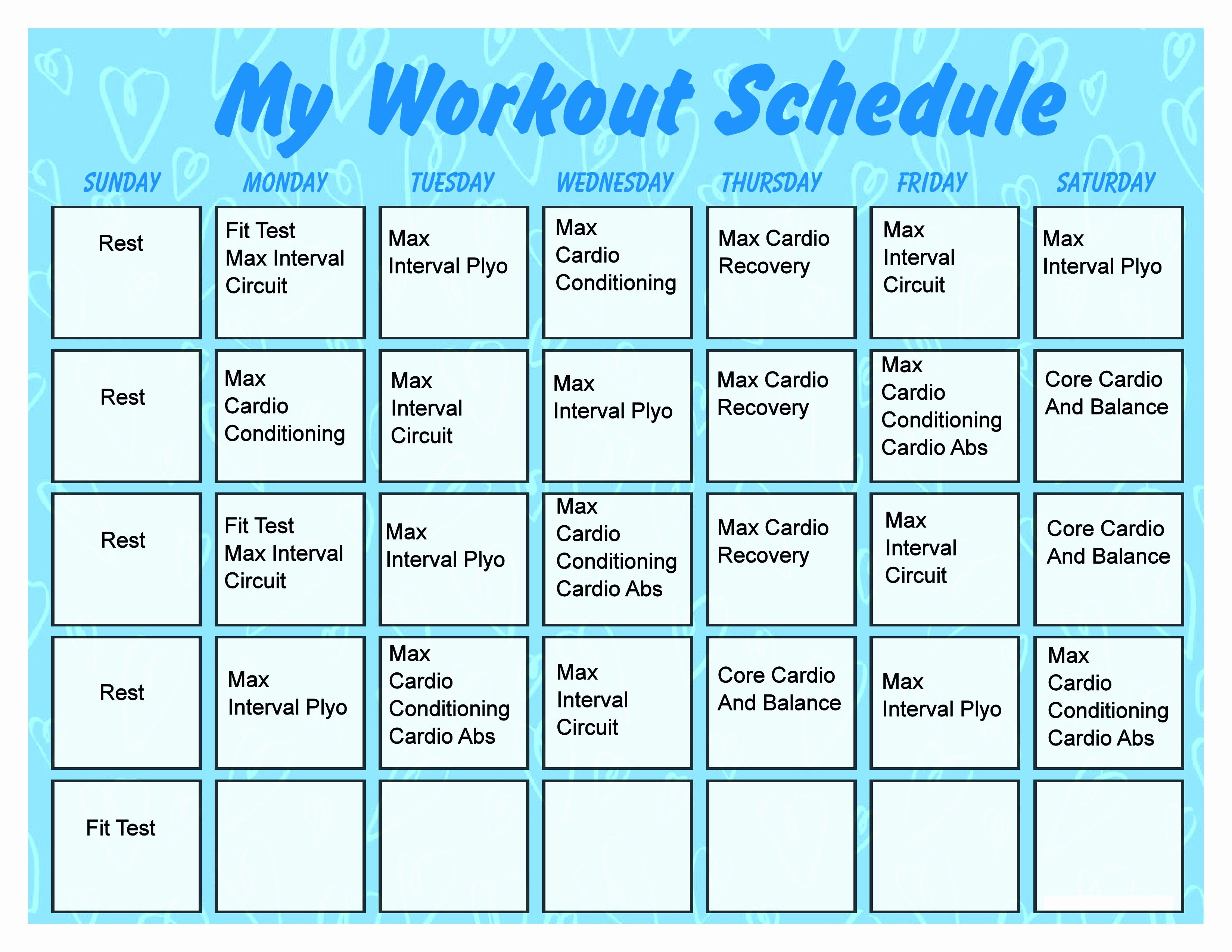 Work Out Schedule Template Beautiful Printable Workout Calendar Activity Shelter