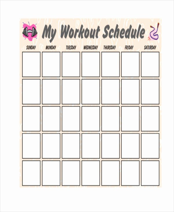 Work Out Schedule Template Best Of Blank Workout Schedule Templates 7 Free Word Pdf
