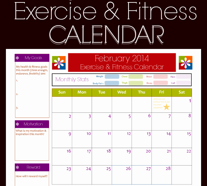 Work Out Schedule Template Elegant 9 Fitness Calendar Templates Excel Templates