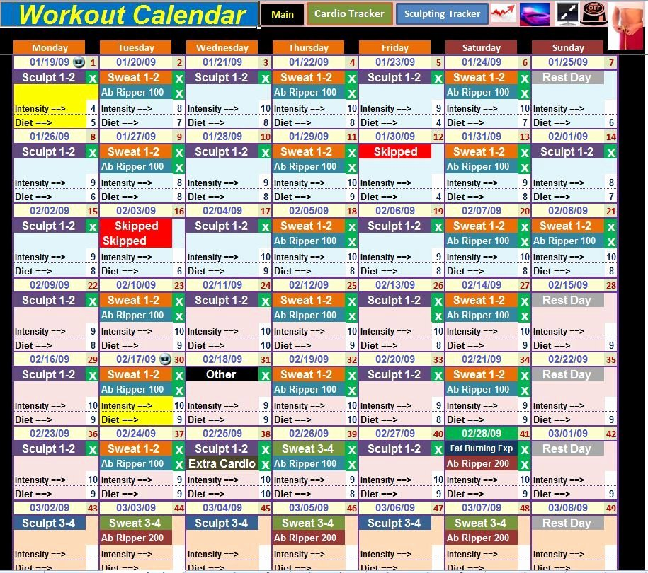 Work Out Schedule Template Fresh Excel Spreadsheet Calendar & Workout Tracker tool for
