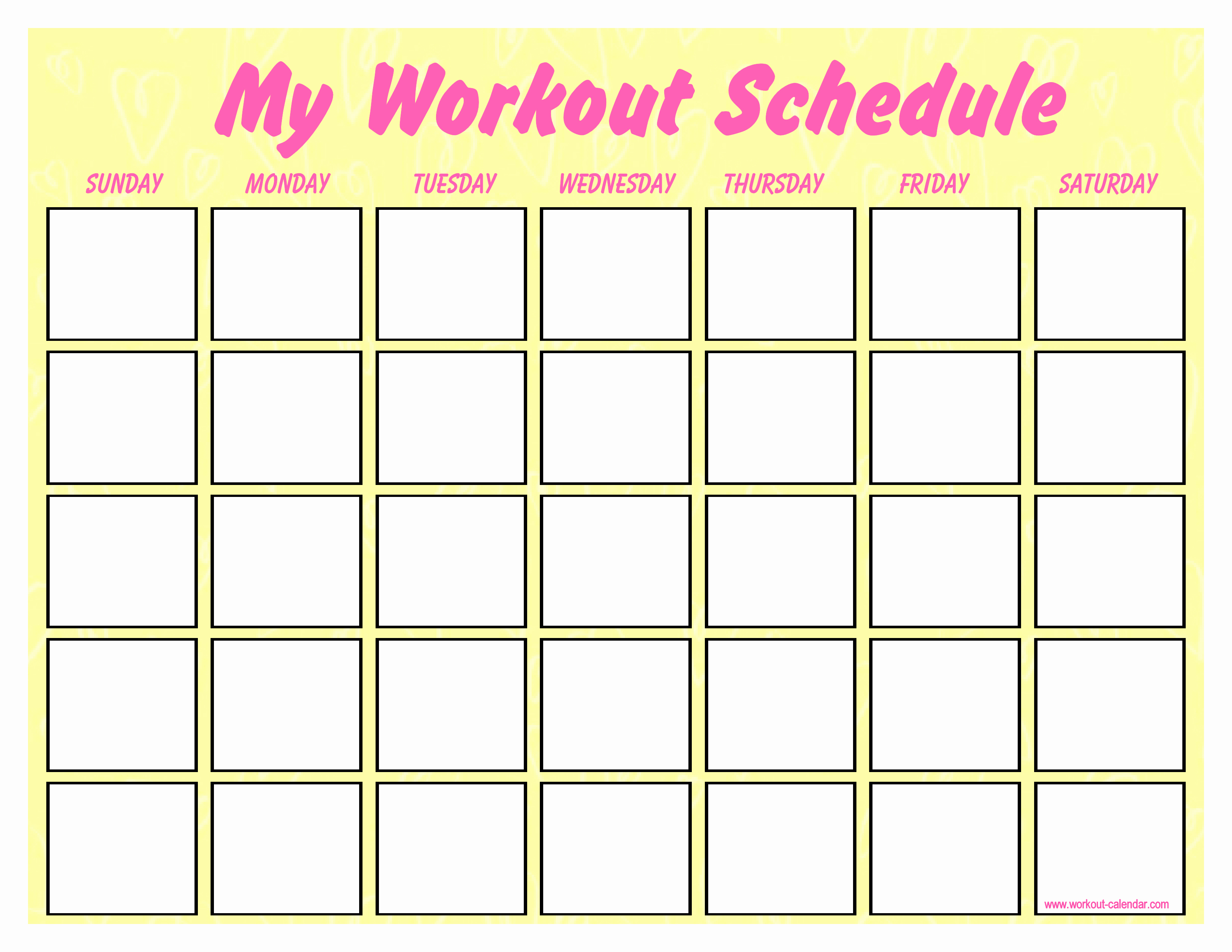 Work Out Schedule Template Lovely Free Blank Workout Schedule Template