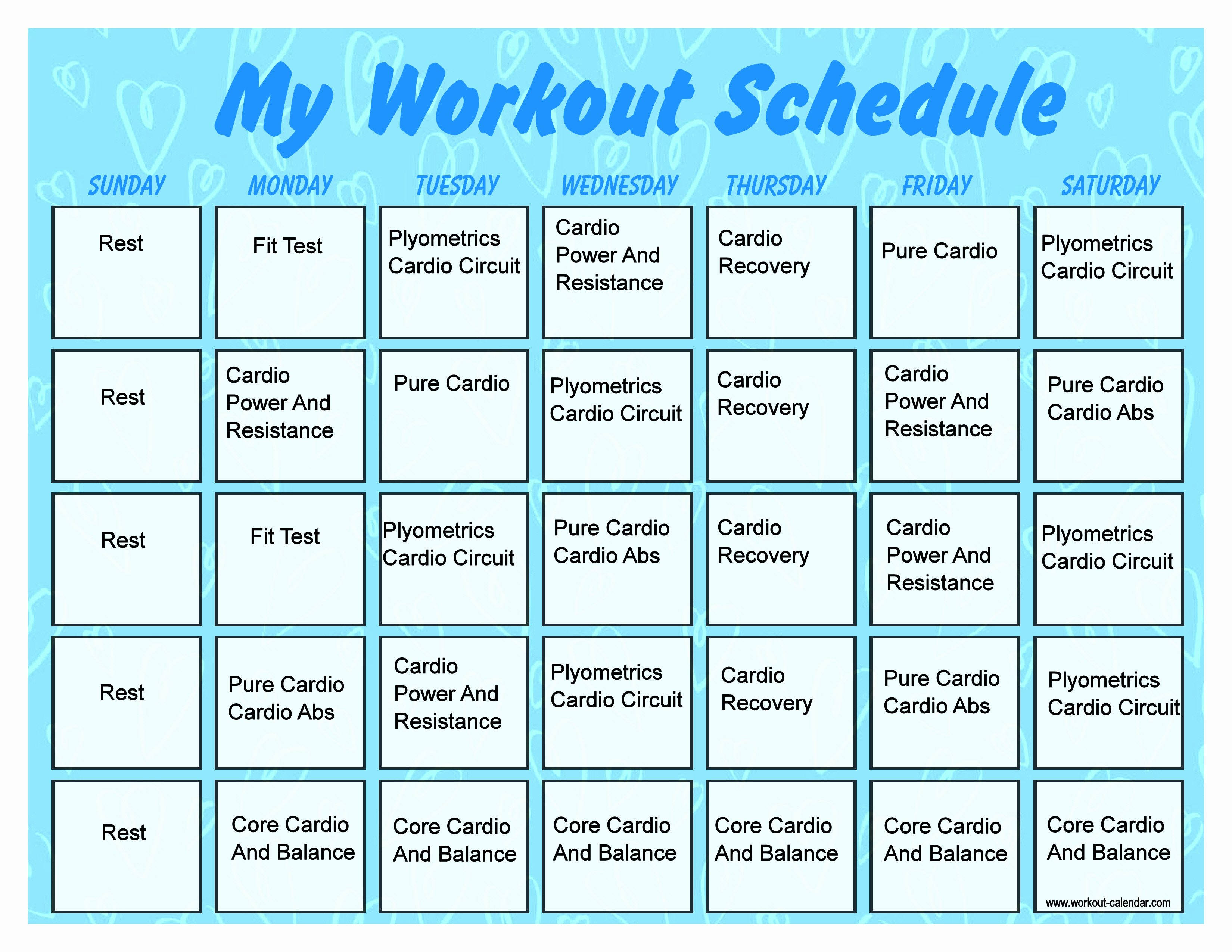 Work Out Schedule Template Lovely Monthly Workout Schedule Template