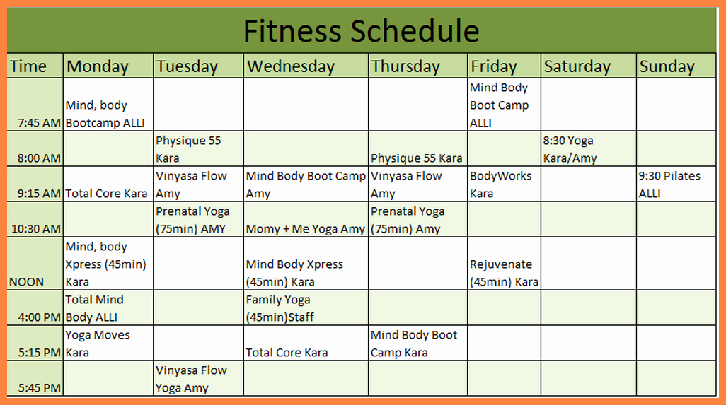 Work Out Schedule Template New 7 Workout Schedule Template