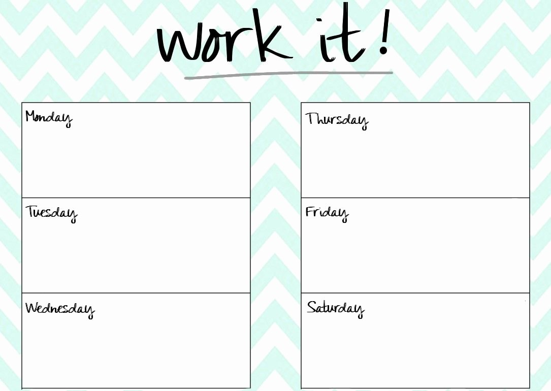 Work Out Schedule Template New Blank Printable Workout Calendar Template 5