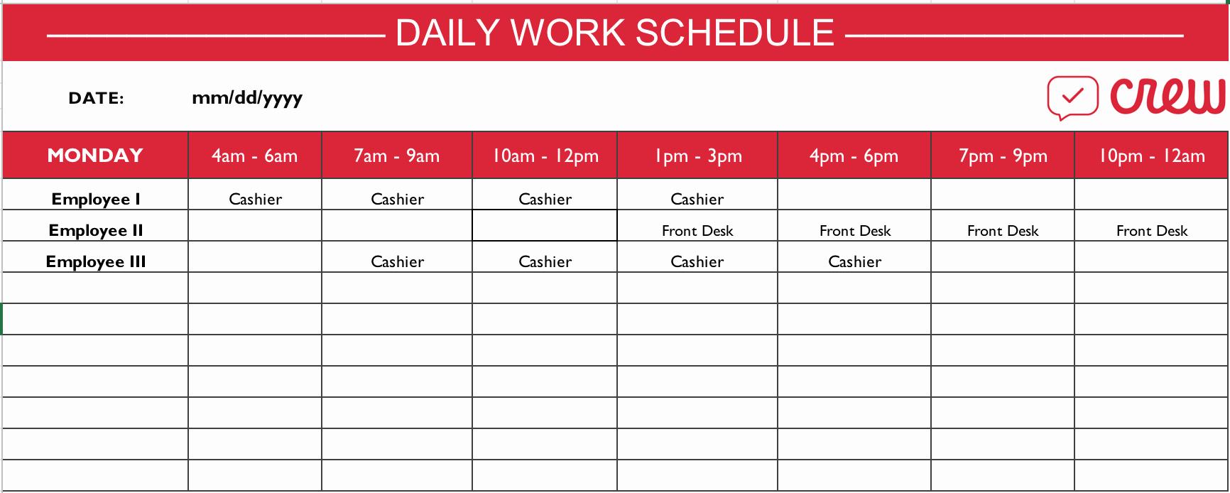 Work Schedule Calendar Template Elegant Free Daily Work Schedule Template Crew