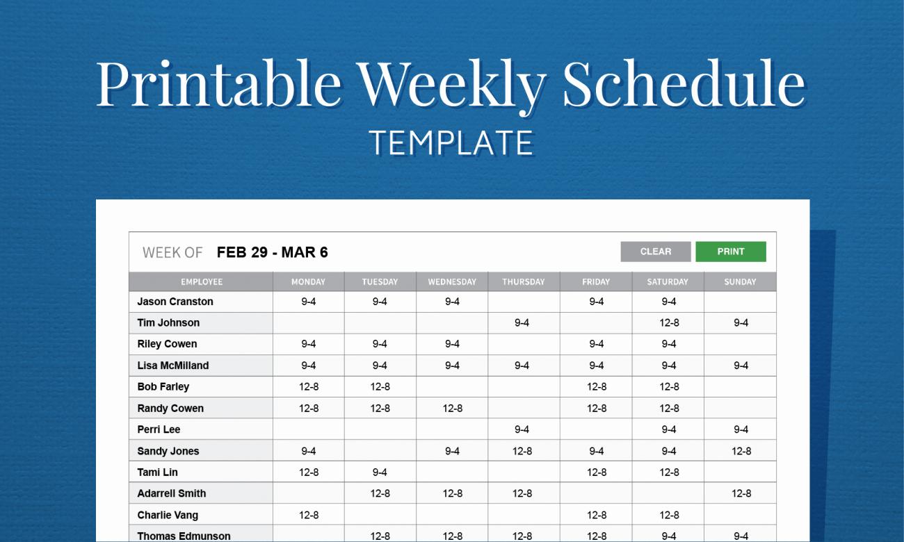 Work Schedule Calendar Template Inspirational Free Printable Weekly Work Schedule Template for Employee