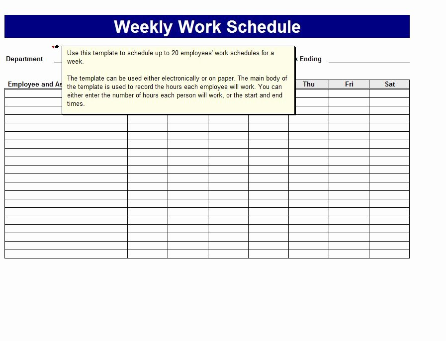 Work Schedule Calendar Template Lovely Weekly Work Schedule Template