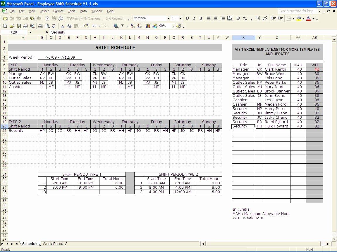 Work Schedule Calendar Template Luxury Excel Shift Schedule Template
