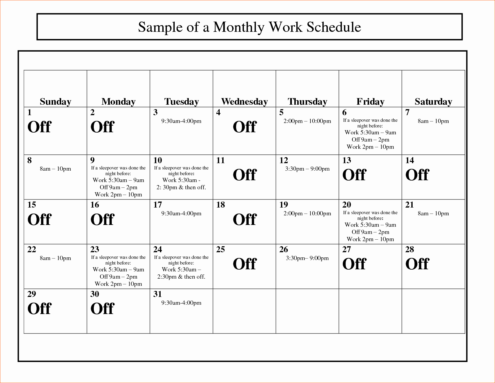 Work Schedule Calendar Template New Monthly Work Schedule to Pin On Pinterest Pinsdaddy