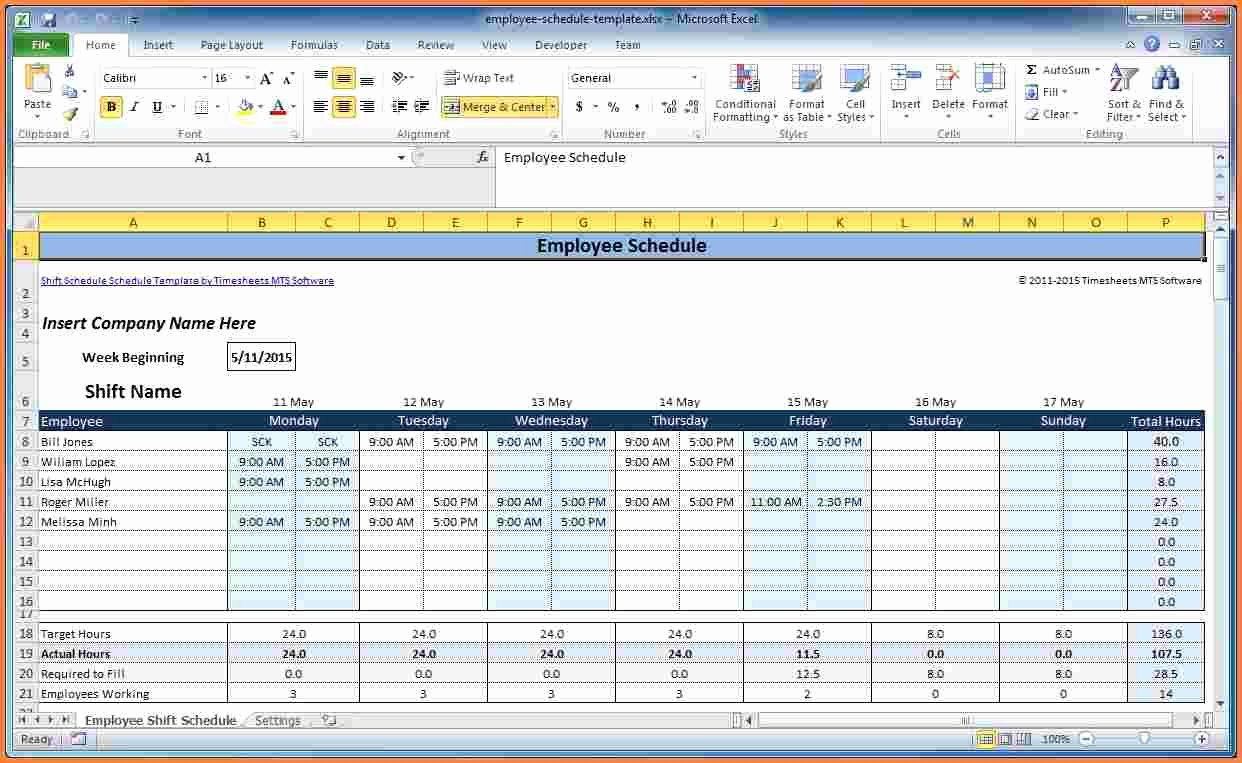 Work Schedule Template Excel Awesome 7 Employee Scheduling Spreadsheet Excel