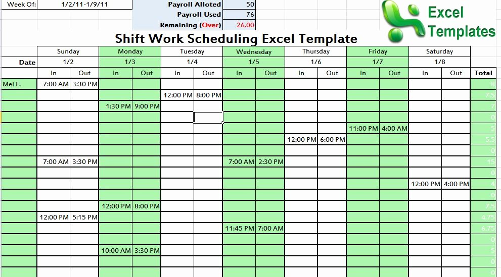 Work Schedule Template Excel Elegant Shift Work Scheduling Excel Template