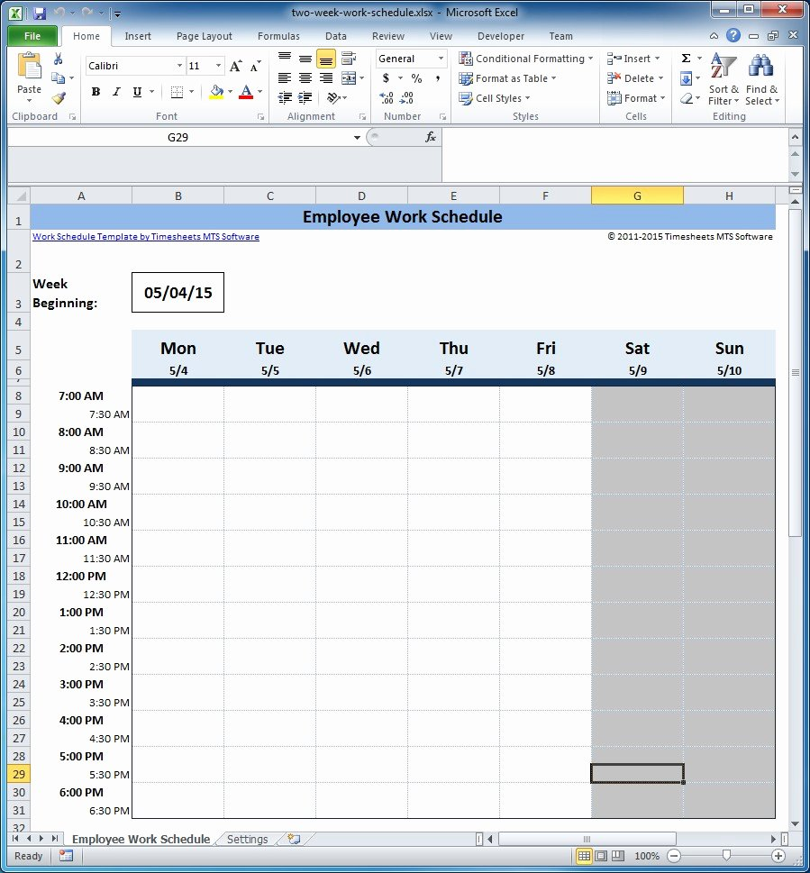 Work Schedule Template Excel Fresh Free Employee and Shift Schedule Templates