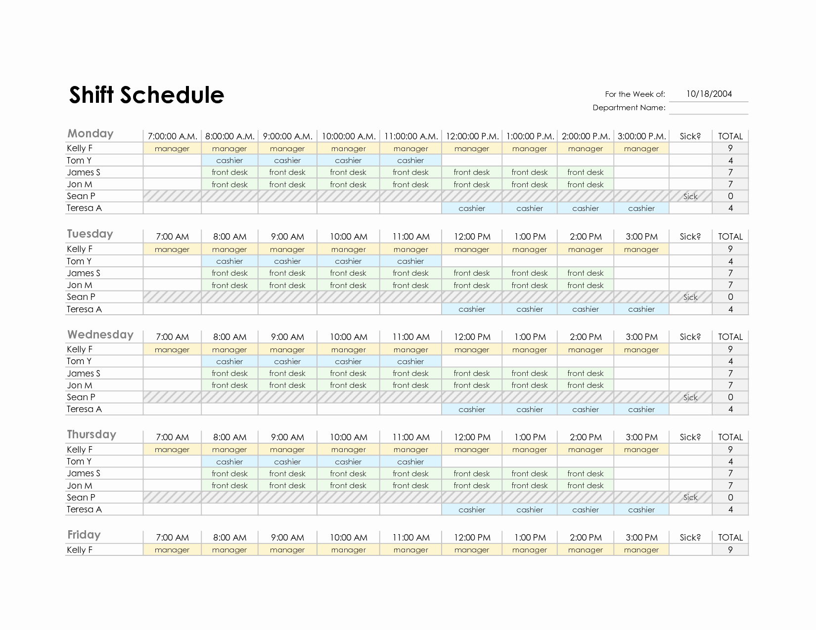 Work Schedule Template Excel Inspirational Employee Schedule Template