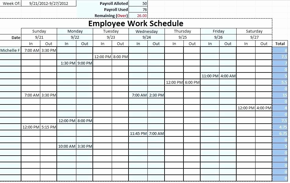 Work Schedule Template Excel New Monthly Employee Work Schedule Template Excel source
