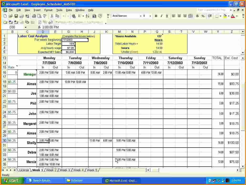 Work Schedule Template Excel Unique 7 Work Schedule Calendar