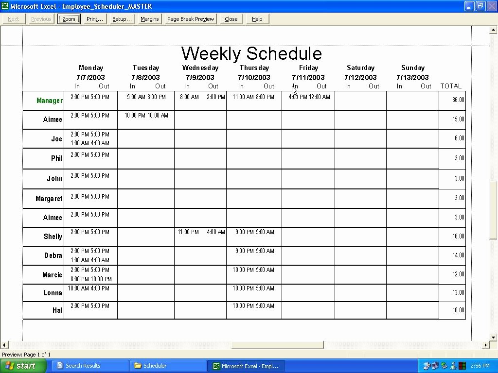 Work Schedule Template Excel Unique Employee Schedule Template