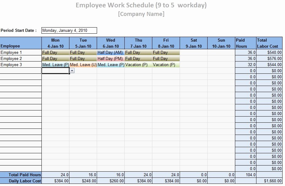Work Schedule Template Excel Unique Employee Work Schedule Template Word Excel