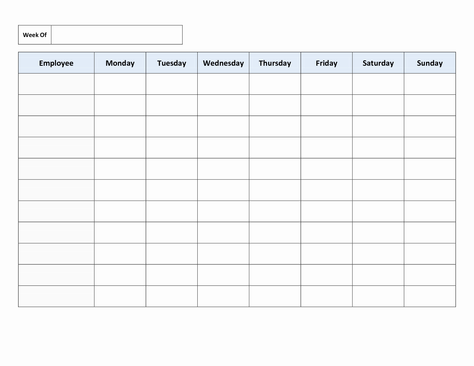 Work Schedule Template Free New Free Weekly Employee Work Schedule Template