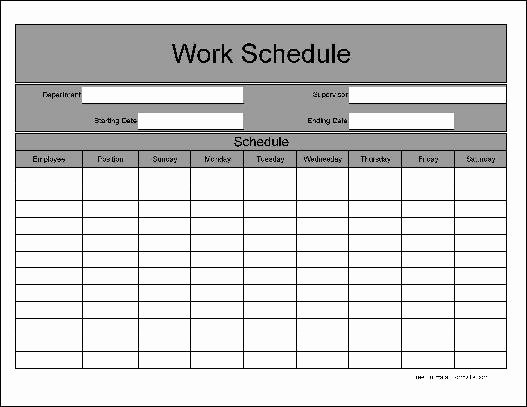 Work Schedule Template Pdf Fresh 5 Work Schedule Templates Excel Xlts