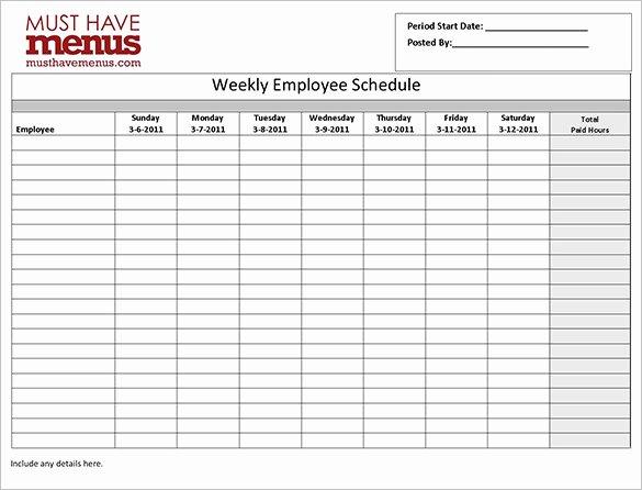Work Schedule Template Pdf Fresh Employee Work Schedule Template 16 Free Word Excel