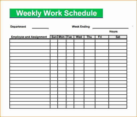 Work Schedule Template Pdf Inspirational 5 Blank Work Schedule Template