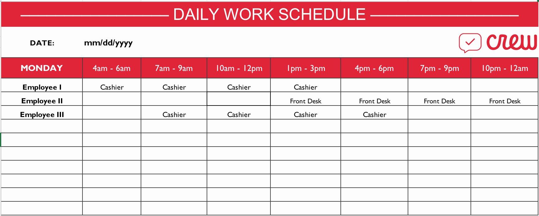 Work Schedule Template Pdf Inspirational Employee Schedule Templates Example Of Spreadshee Employee