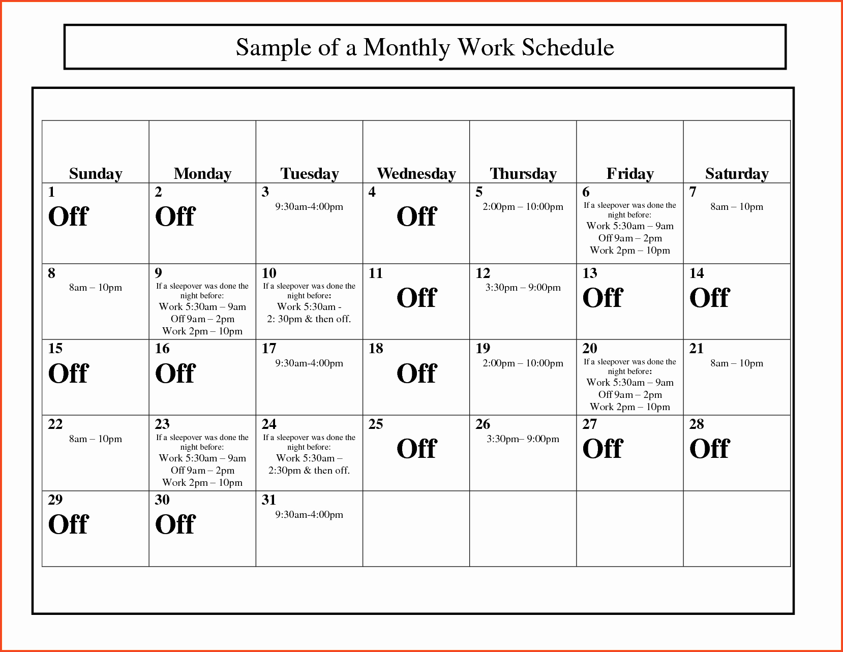 Work Schedule Template Pdf Inspirational Monthly Work Schedule Template