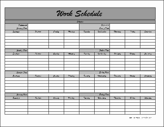 Work Schedule Template Pdf New Work Schedule Template