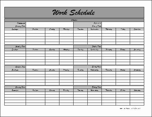 Work Schedule Template Pdf New Work Schedule Template