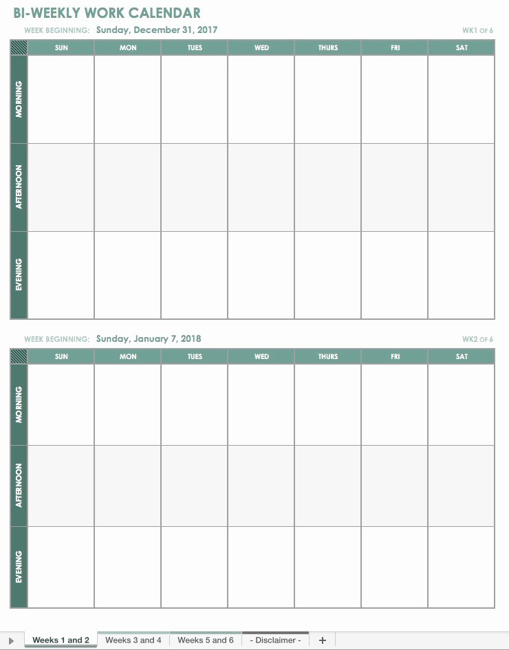 Work Schedule Template Weekly Beautiful Free Excel Calendar Templates