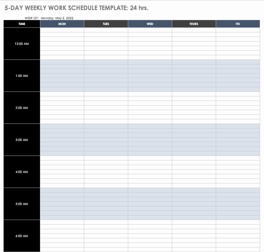 Work Schedule Template Weekly Best Of Free Work Schedule Templates for Word and Excel
