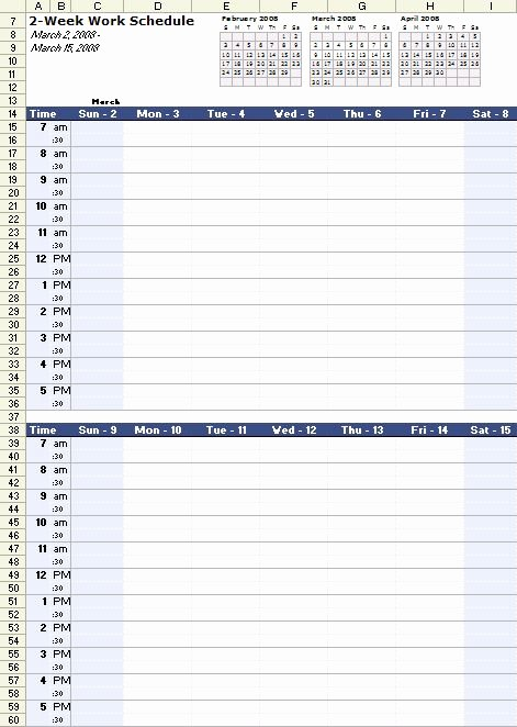 Work Schedule Template Weekly Elegant A Free Bi Weekly Work Schedule Template for Excel at