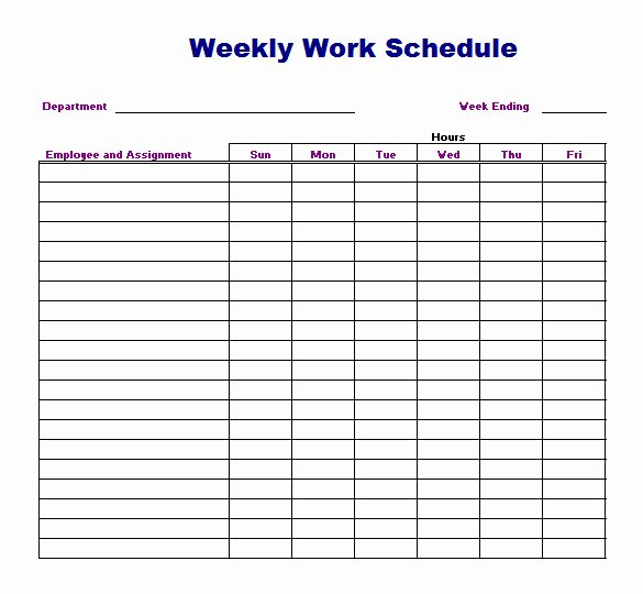 Work Schedule Template Weekly Elegant Weekly Work Schedule Template 8 Free Word Excel Pdf