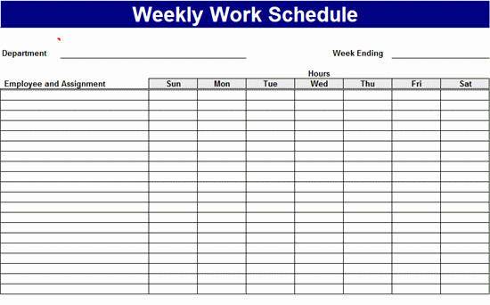Work Schedule Template Weekly Luxury Weekly Work Schedule Templates Free Download