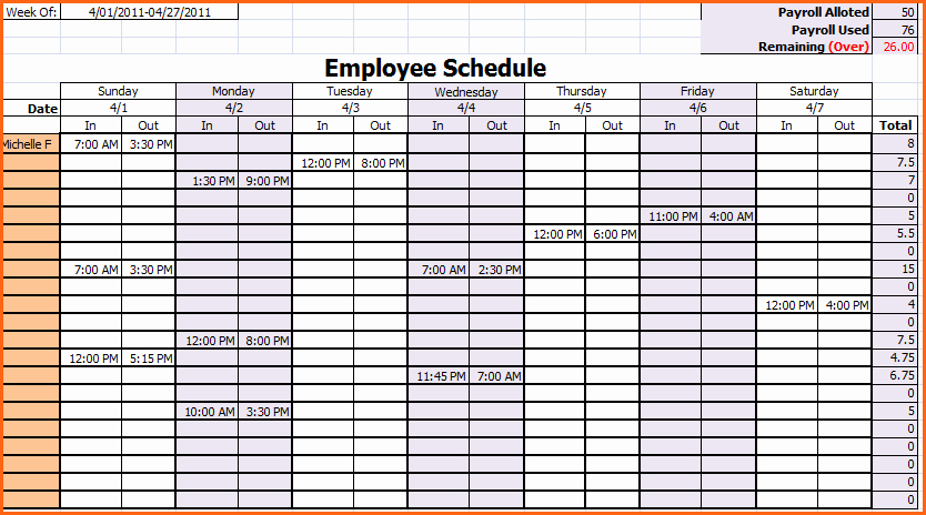 Work Schedule Template Weekly New 6 Weekly Work Schedule Template Excel Bud Template