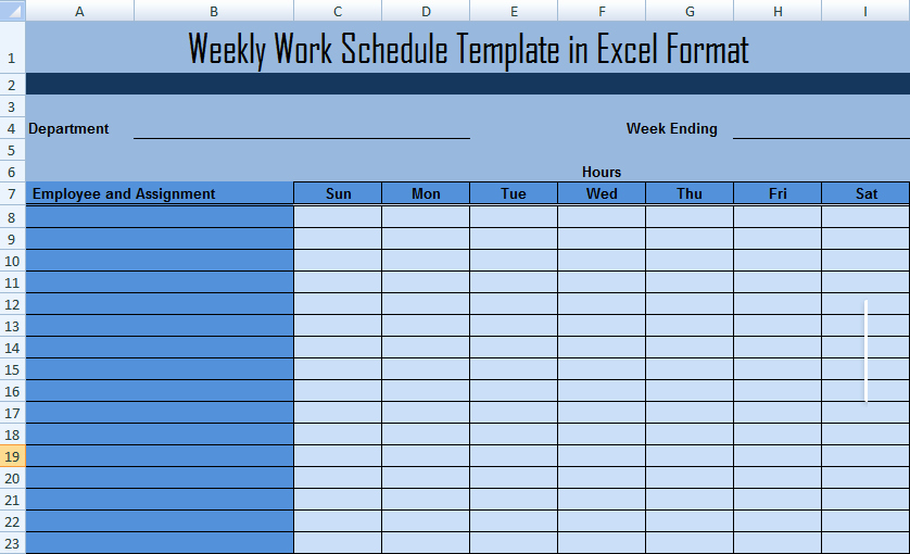 Work Schedule Template Weekly Unique Weekly Work Schedule Template In Excel format