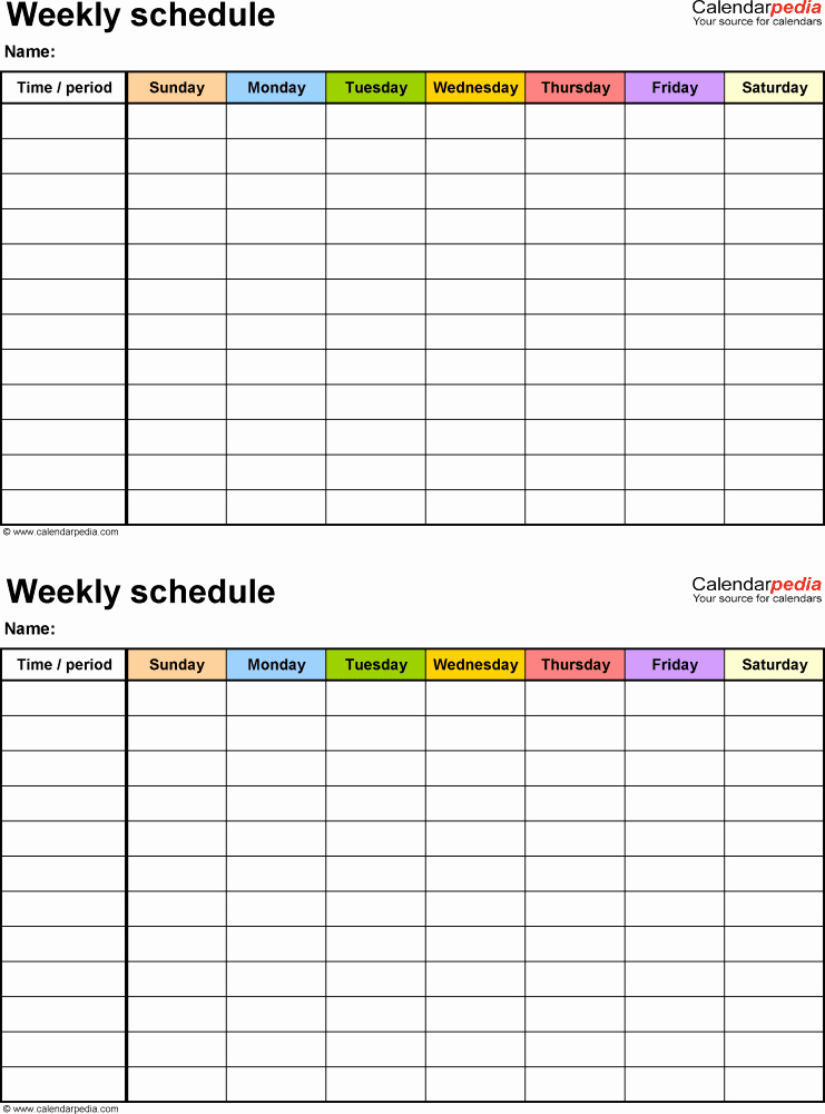 Work Schedule Template Word Awesome Free Weekly Schedule Templates for Word 18 Templates