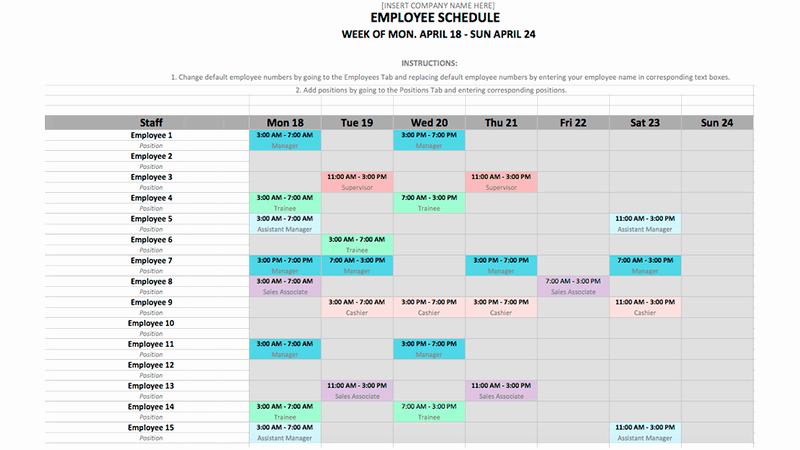 Work Schedule Template Word Fresh Employee Schedule Template In Excel and Word format