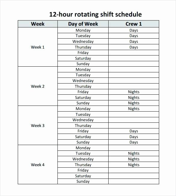 Work Shift Schedule Template Inspirational Hour Shift Schedule Templates Awesome Weekly Employee