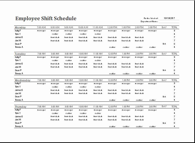 Work Shift Schedule Template Luxury Ms Excel Employee Shift Schedule Template