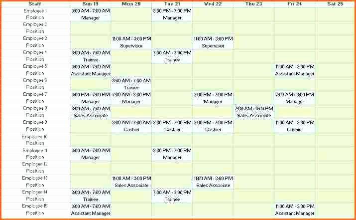 Work Shift Schedule Template Luxury Weekly Employee Shift Schedule Template Excel Free and