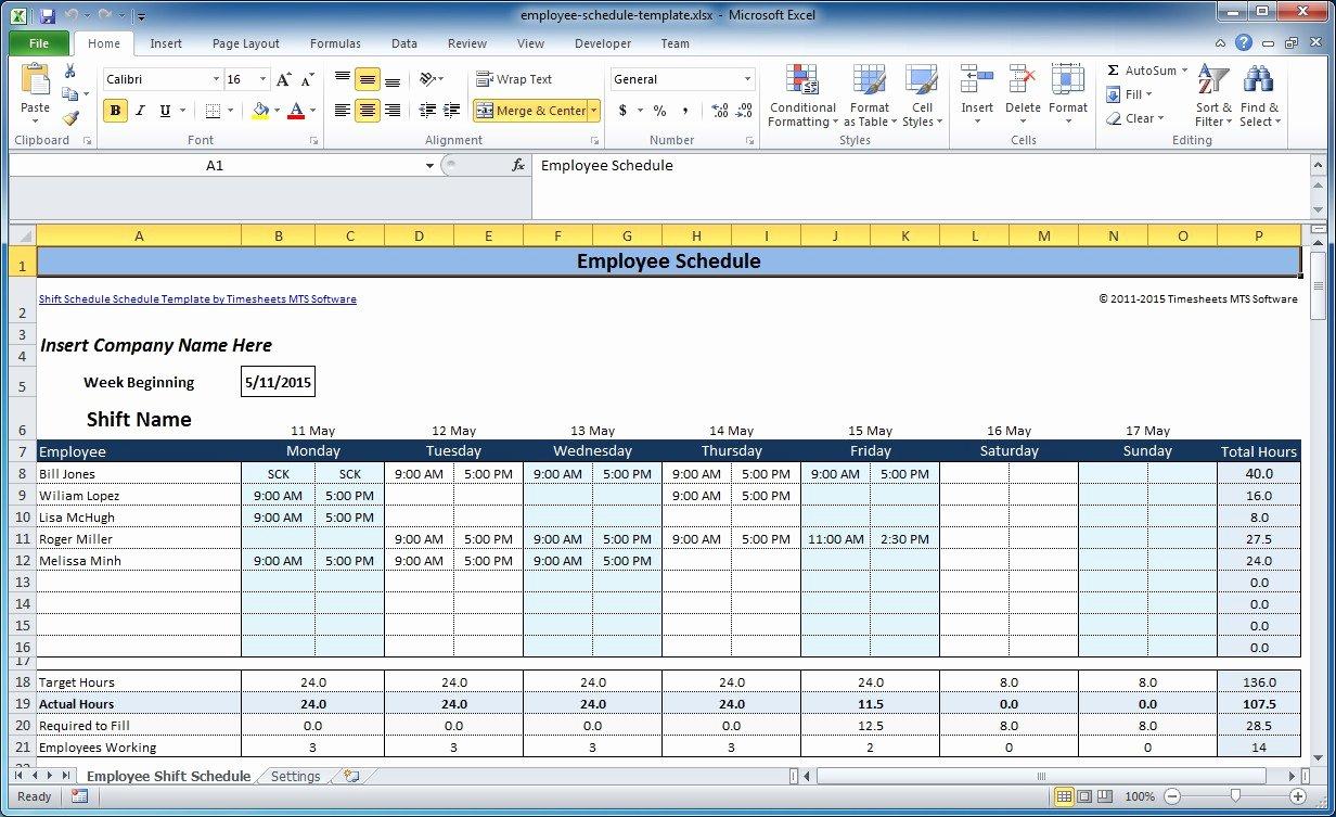 Work Shift Schedule Template Unique Free Employee and Shift Schedule Templates