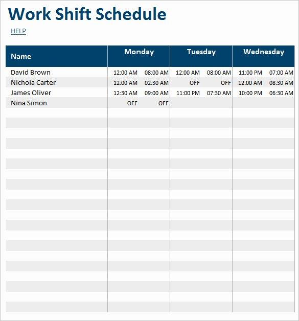Work Shift Schedule Template Unique Weekly Work Schedule Template Open Office Driverlayer