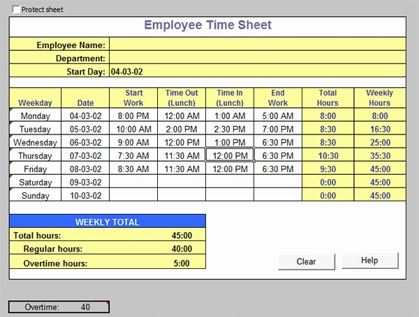 Work Time Sheet Template Awesome 16 Free Amazing Time Card Calculator Templates