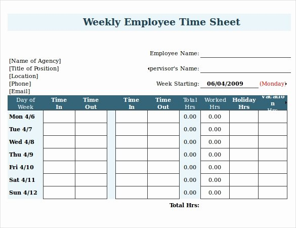 Work Time Sheet Template Awesome 22 Employee Timesheet Templates – Free Sample Example