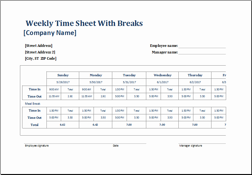 Work Time Sheet Template Awesome Employee Weekly Time Sheets with and without Breaks