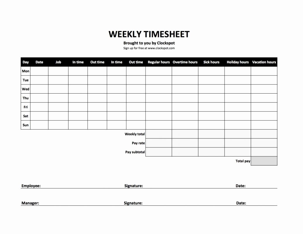 Work Time Sheet Template Fresh Bi Weekly Timesheet Template